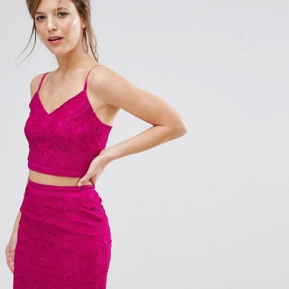 ASOS Tops - New Look Premium Ladder Lace Insert Pink Crop Top